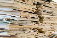 A stack of old school notebooks. Multicolored cover.  royalty free stock image