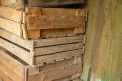 A stack of old wooden boxes royalty free stock image