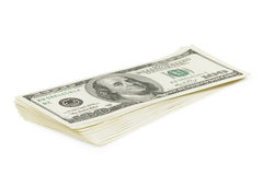 Stack of old style one hundred dollars bank notes isolated Royalty Free Stock Photos