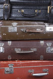 Stack of old suitcases closeup Stock Photos