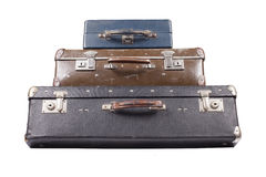 Stack of old suitcases isolated Royalty Free Stock Image