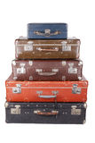 Stack of old suitcases isolated Royalty Free Stock Photos