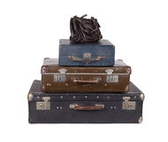 Stack of old suitcases isolated Stock Photography