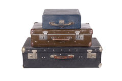 Stack of old suitcases isolated Stock Photos
