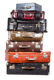 Stack of old suitcases isolated Royalty Free Stock Images