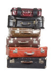 Stack of old suitcases isolated Royalty Free Stock Photography