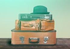Stack of Old suitcases. Travelling concept. Old suitcase suitcases white objects background holiday Stock Photo