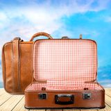 Stack of Old suitcases. Travelling concept. Old suitcase suitcases white objects background holiday Stock Photography