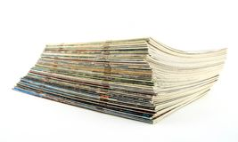 Stack of old thin magazines Stock Photo