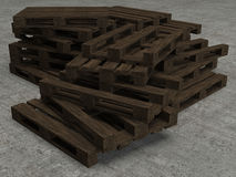 Stack of old three wooden pallets Stock Photography