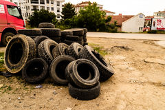 Stack Of Old Tires Royalty Free Stock Images