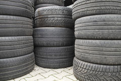 Stack of old tires Royalty Free Stock Photos