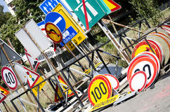 Stack of old traffic road signs Stock Image