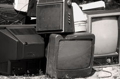 Stack of Old TV's Stock Image