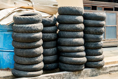 Stack of old tyre Royalty Free Stock Photography