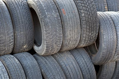 Stack of old tyres Royalty Free Stock Photos