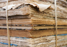 Stack of old unique books Stock Photo