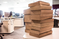 Stack of old used books in IT department Royalty Free Stock Images