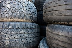 Stack of the old used tire covers. Stock Image