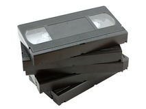 Stack of old video cassettes Royalty Free Stock Images