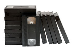 Stack of old video cassettes Royalty Free Stock Photos