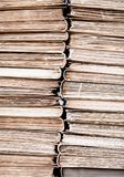 Classic reading vintage aged books stack background Royalty Free Stock Photo