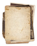Stack of old vintage photos with stains and scratches Royalty Free Stock Photos