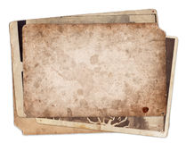 Stack of old vintage photos with stains and scratches Stock Photo