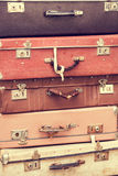 Stack of old vintage suitcases Stock Photo