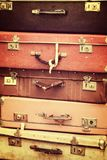 Stack of old vintage suitcases vintage process. Stack of old vintage suitcases, vintage process Stock Photos