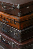 Stack of old vintage travel suitcases close up Royalty Free Stock Photography