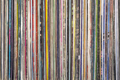 Stack of old vinyl records. Stock Image
