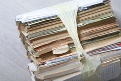 Stack old of waste paper staked recycle Royalty Free Stock Image