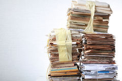 Stack old of waste paper staked recycle. A stack of waste paper and staked recycle Royalty Free Stock Photos