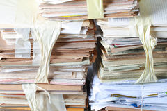 Stack old of waste paper staked recycle Royalty Free Stock Photography