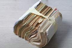 Stack old of waste paper staked recycle. A stack of waste paper and staked recycle Royalty Free Stock Images