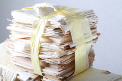 Stack old of waste paper staked recycle. A stack of waste paper and staked recycle Royalty Free Stock Photography