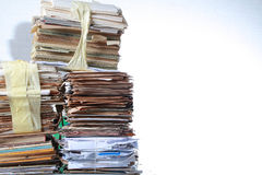 Stack old of waste paper staked recycle. A stack of waste paper and staked recycle Stock Photo