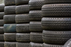 Stack of old wheel black tyre. Stock Images