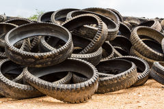 Stack of old wheel black tyre . Stock Image