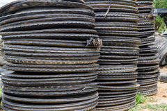 Stack of old wheel black tyre. Stock Photography