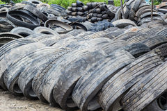 Stack of old wheel black tyre. Stock Photo