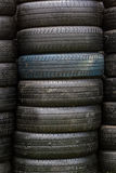 Stack of old wheel black tyres. Royalty Free Stock Photography