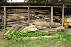 Stack of old wood Stock Photo
