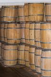 A stack of old Wooden barrels Stock Photo