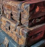 Stack of Old Worn Out Victorian Luggage royalty free stock photo