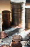 Stack of one cent coins. Stock Photos