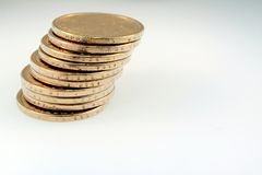 Stack of One Dollar Gold Coins Royalty Free Stock Photos
