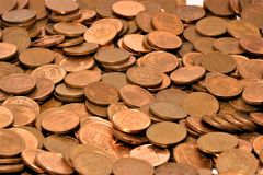 Pile of one Euro Cents. Stack of one Euro Cents, concept of European Union economy royalty free stock image