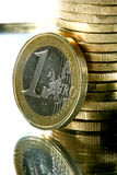 Stack of one euro coins Stock Photos